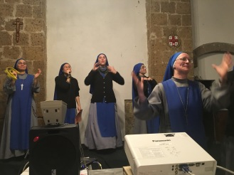 Nuns playing games and singing