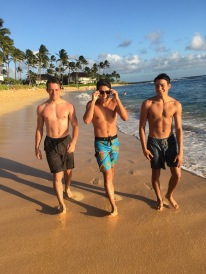 studs at Poipu beach